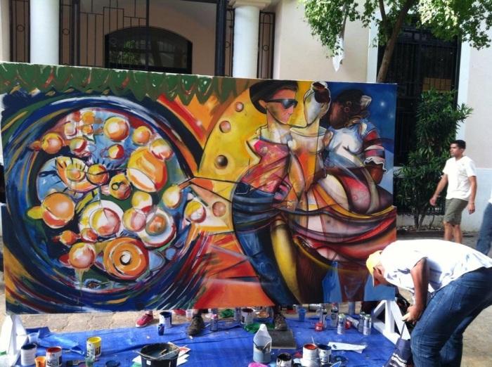 Mural Mabel Manzano y Pedro Vera, Noche Larga de Museos